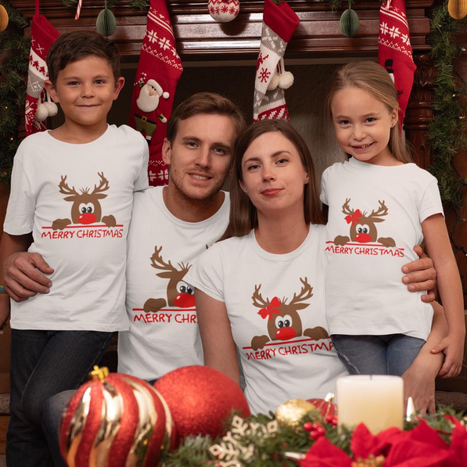 Rodinný set v bielej farbe Merry Christmas Hiding Deer