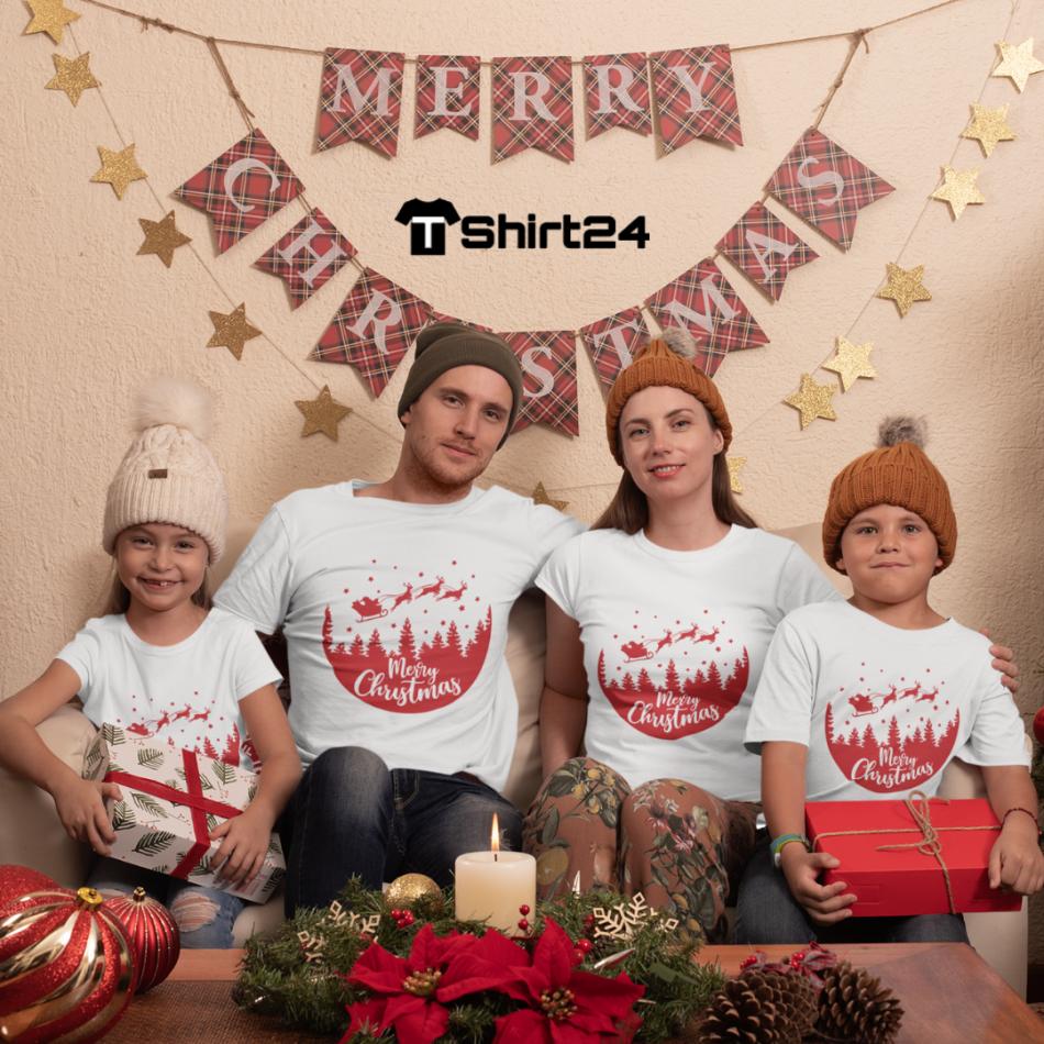 Rodinný set v bielej farbe Merry Christmas Night Ride