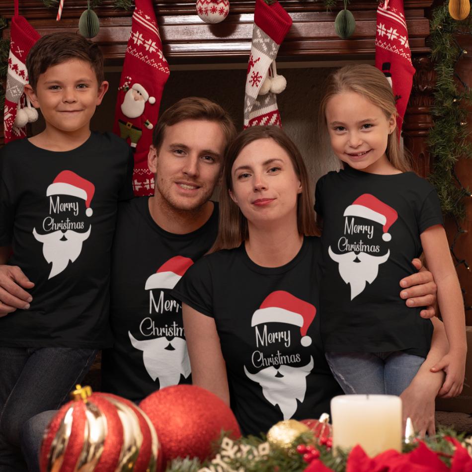 Rodinný set v čiernej farbe Merry Christmas Beard