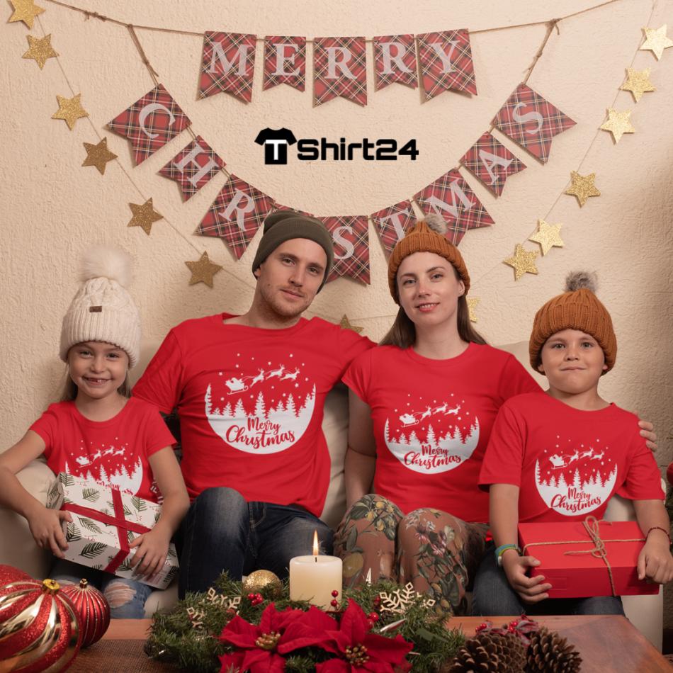 Rodinný set v červenej farbe Merry Christmas Night Ride