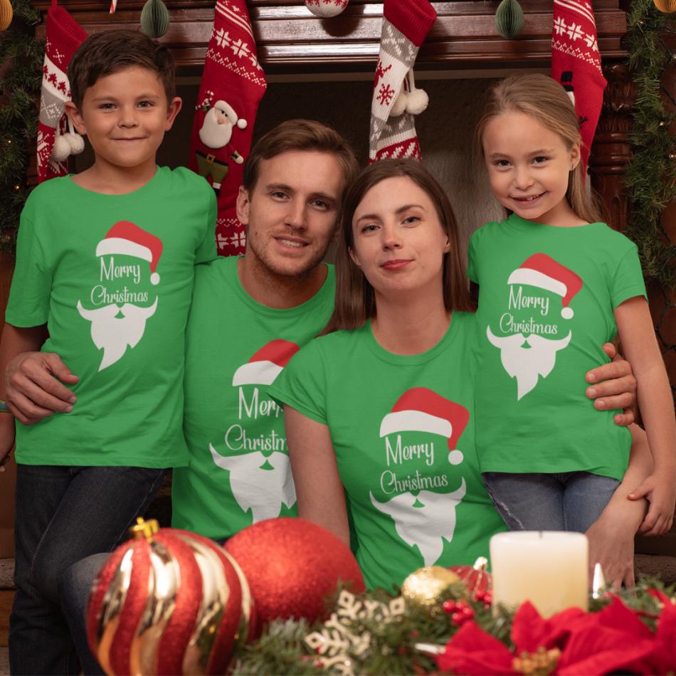 Rodinný set v zelenej farbe Merry Christmas Beard