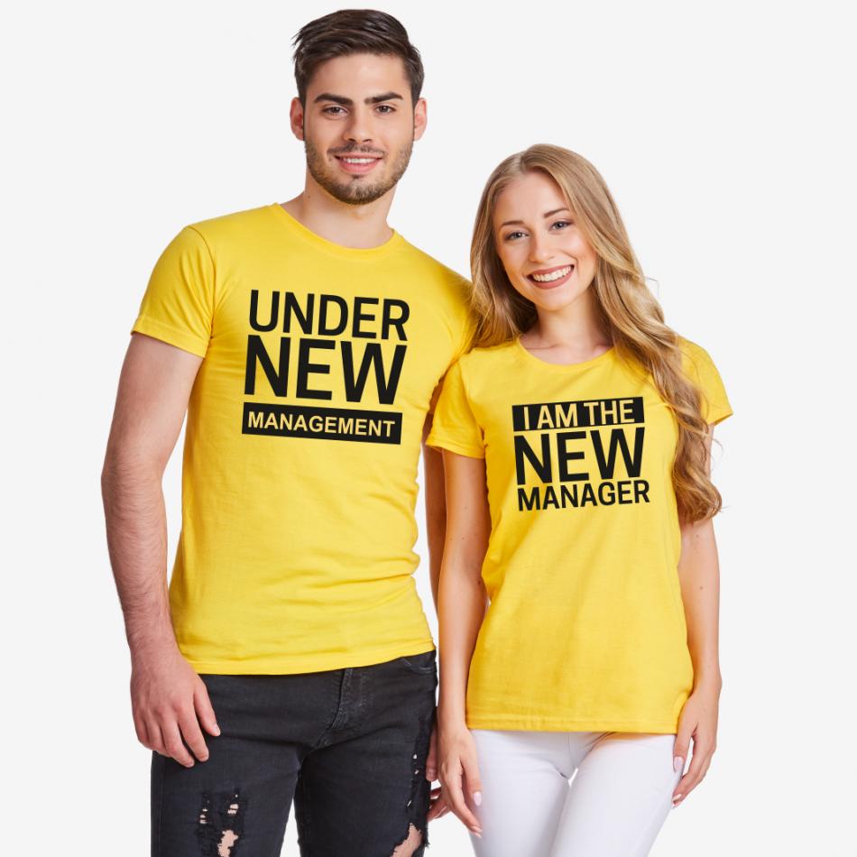 Tričká pre páry v žltej farbe New Manager