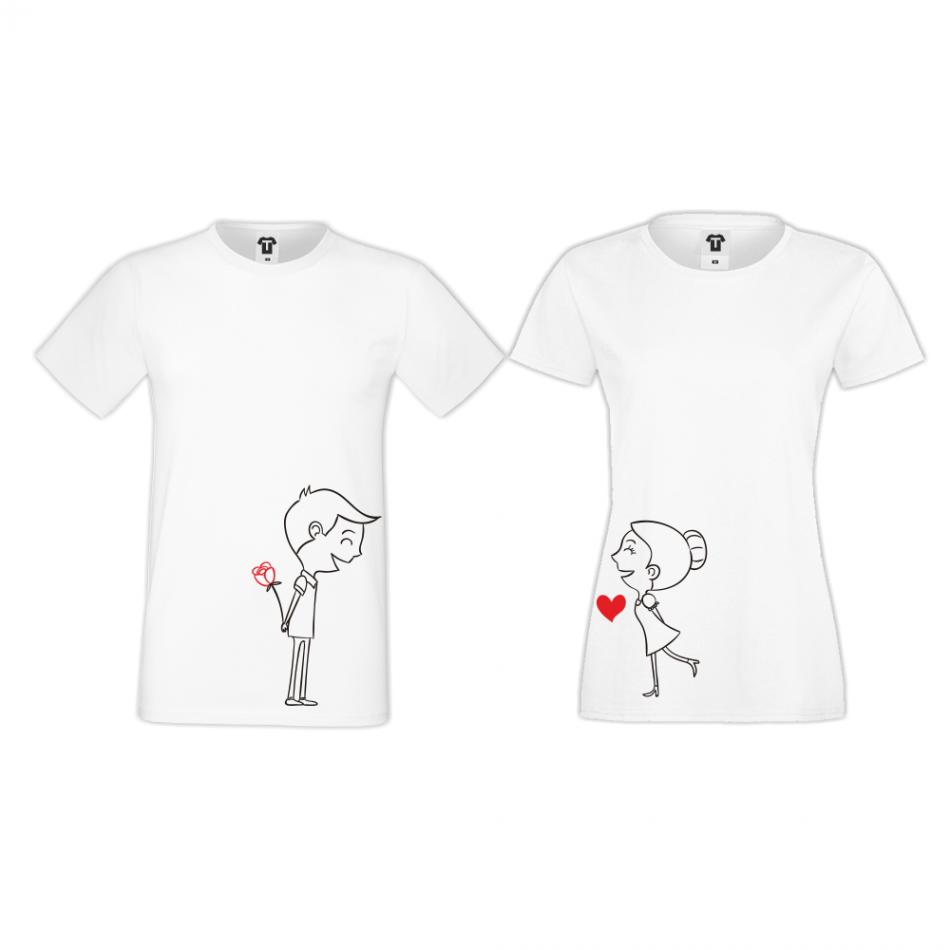 Tričká pre páry v bielej farbe Boy and Girl