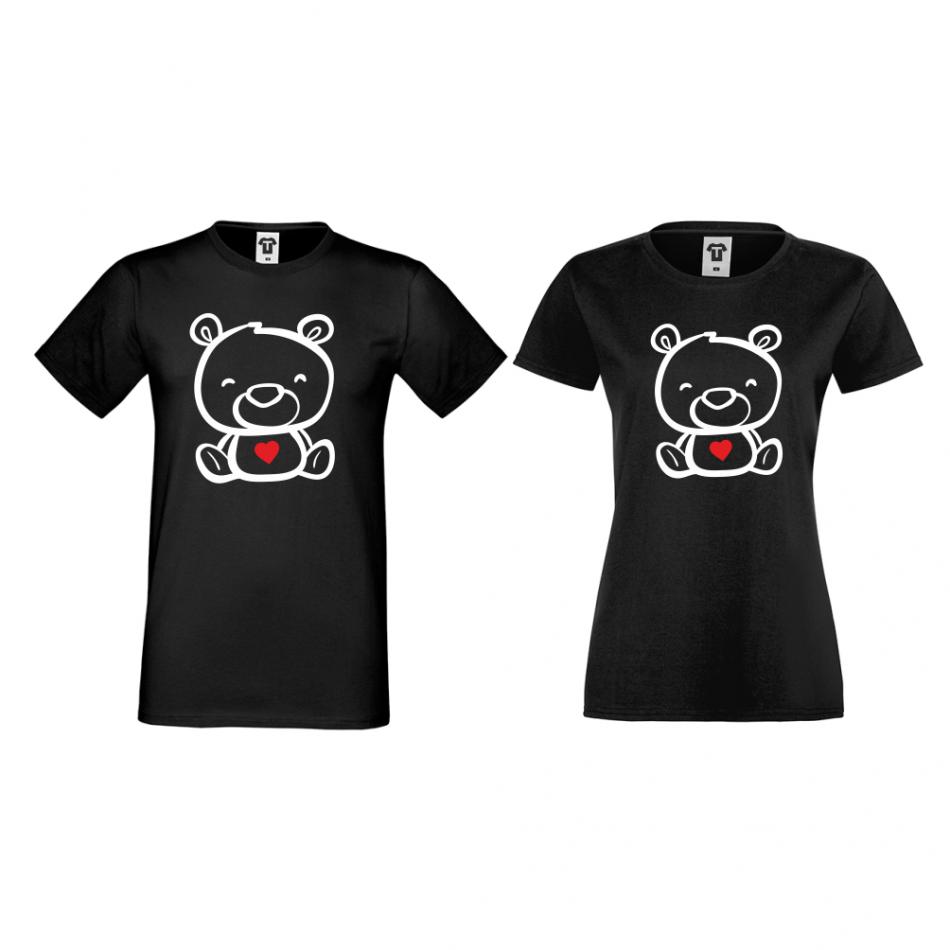 Tričká pre páry v čiernej farbe Bears
