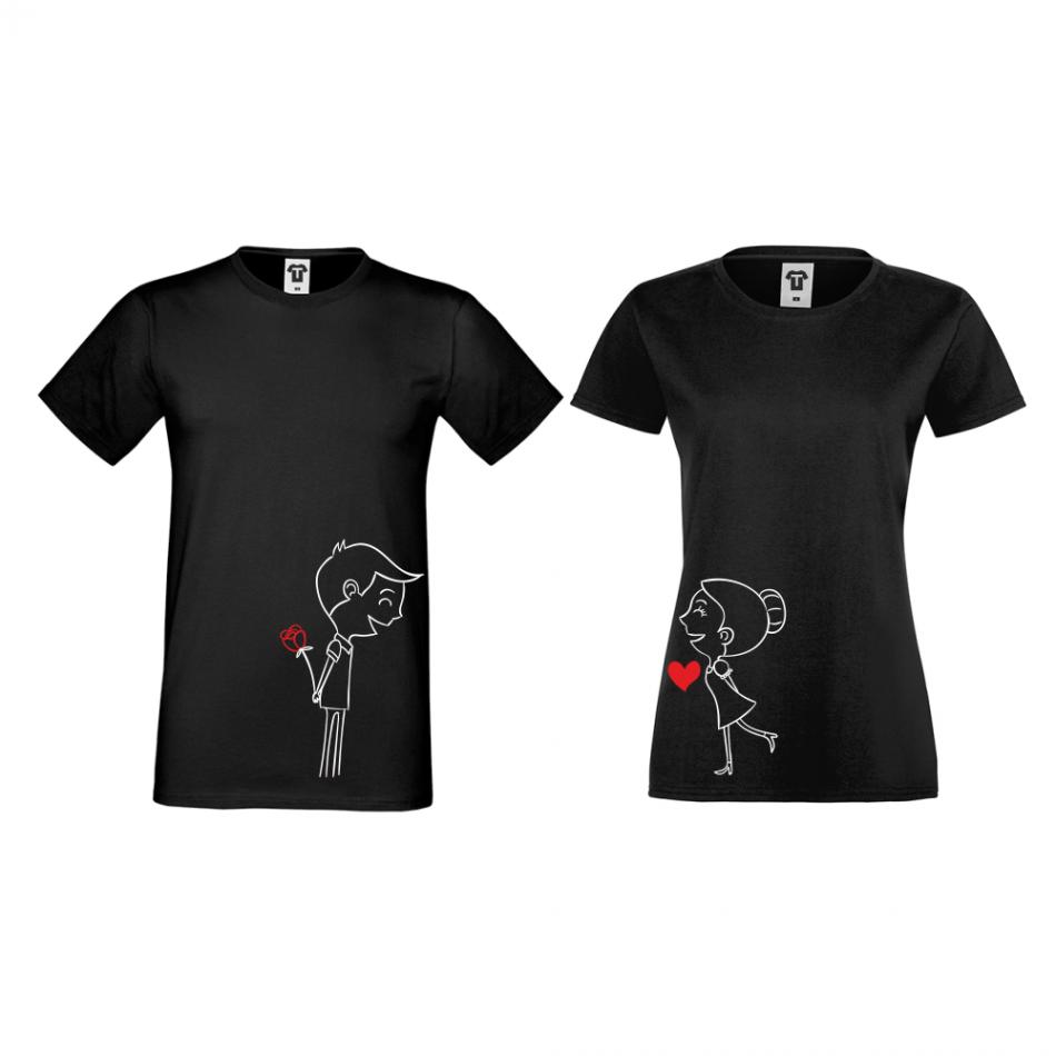Tričká pre páry v čiernej farbe Boy And Girl