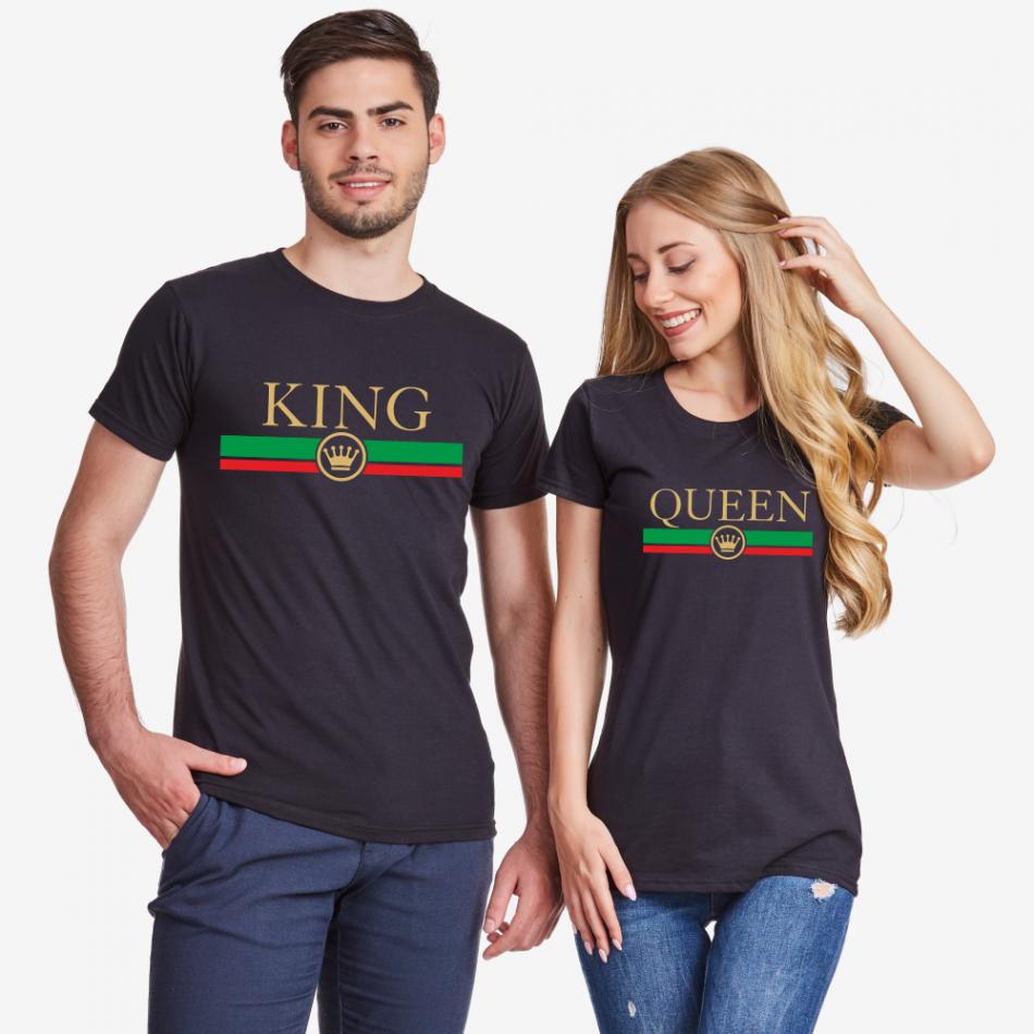 Tričká pre páry v čiernej farbe King - Queen RG