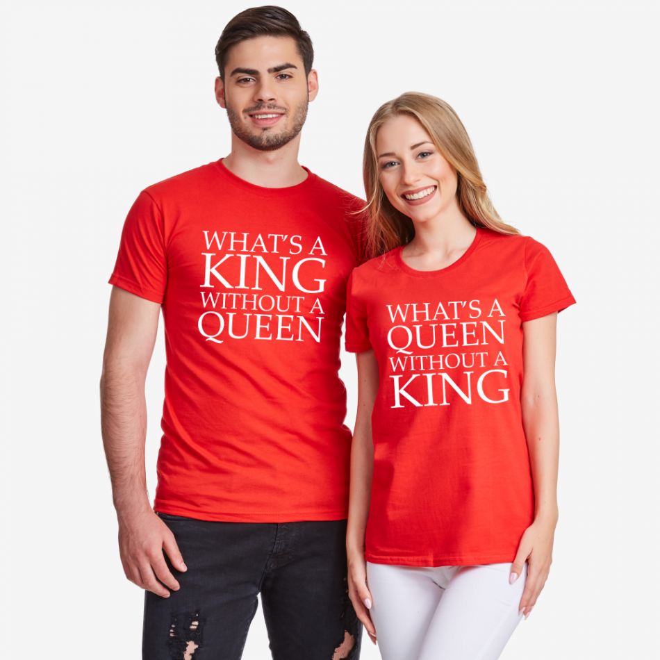 Tričká pre páry v červenej farbe What is a queen without a KING