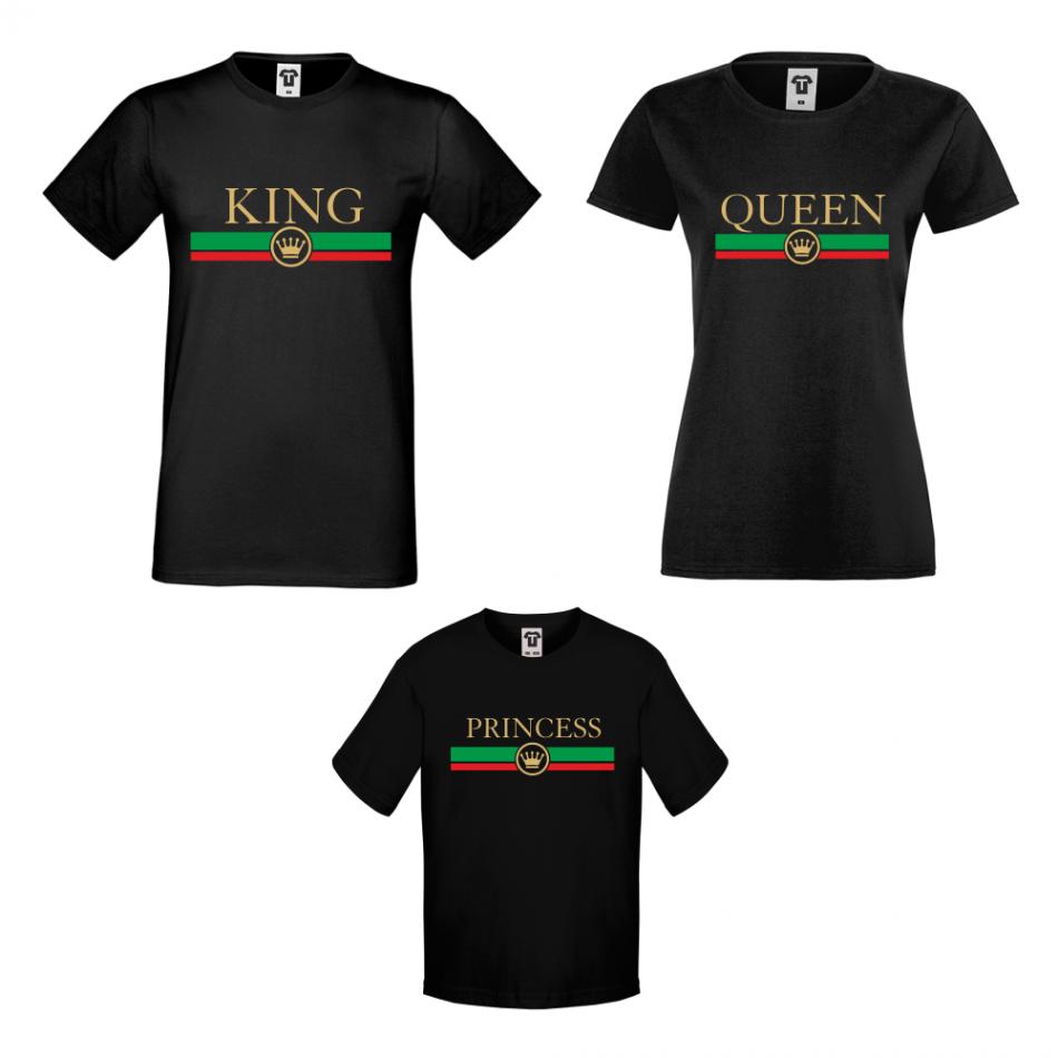 Rodinné tričká v bielej alebo čiernej farbe King - Queen - Princess  RG