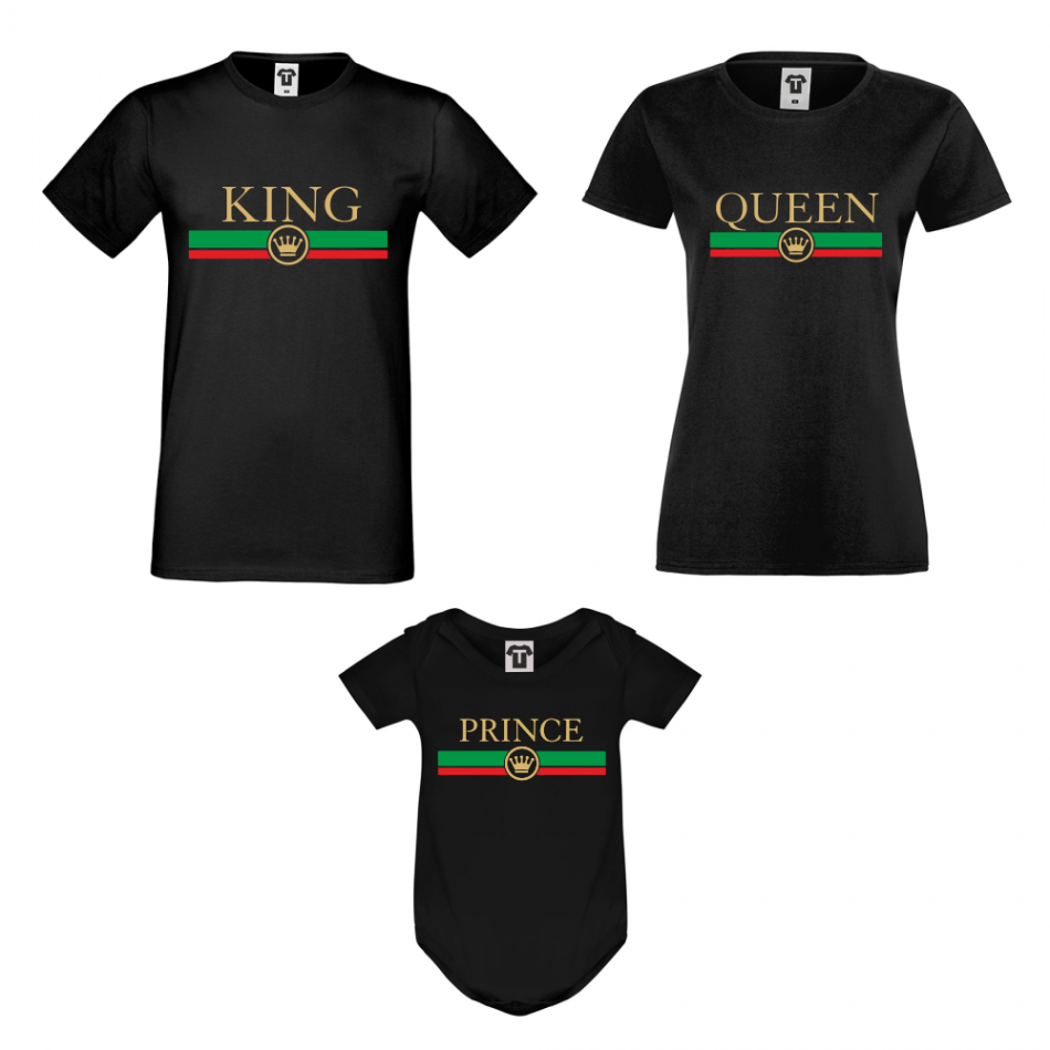 Rodinný set v bielej alebo čiernej farbe King - Queen - Prince RG