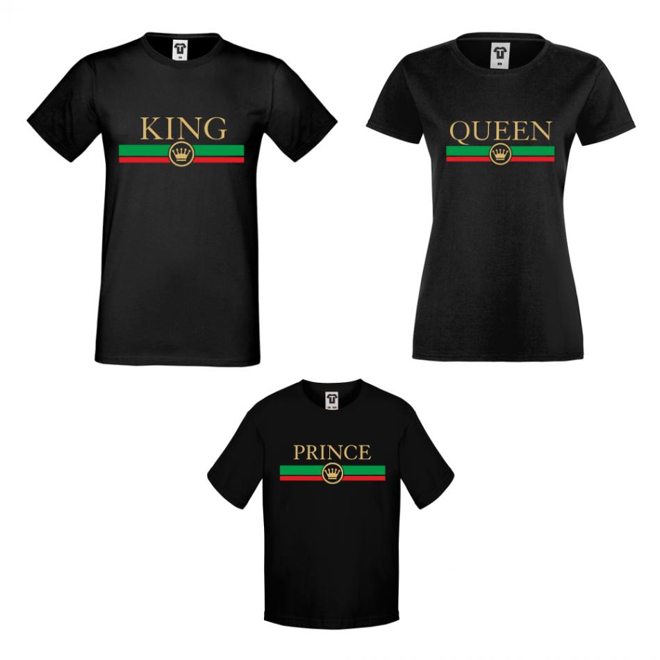 Rodinné tričká v bielej alebo čiernej farbe King - Queen - Prince  RG
