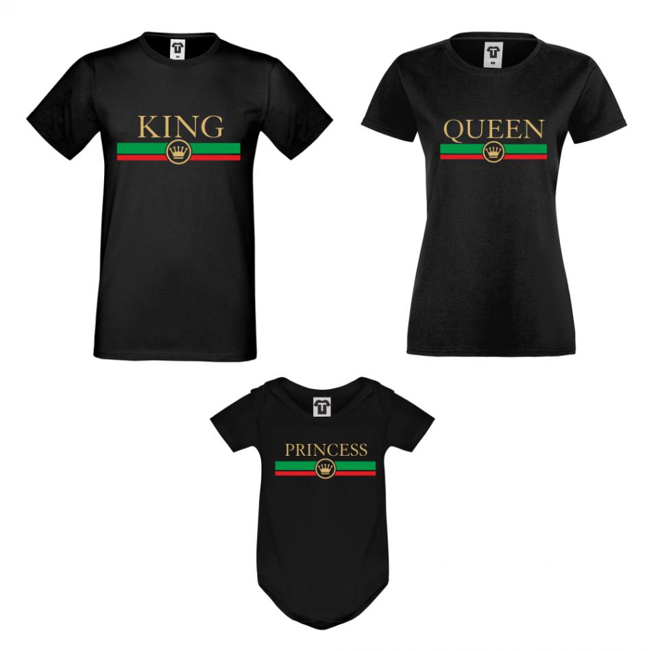 Rodinný set v bielej alebo čiernej farbe King - Queen - Princess RG