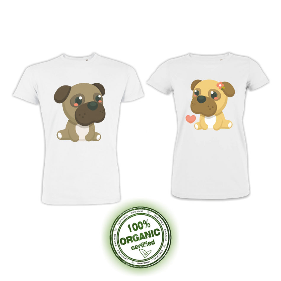 Tričká pre páry biele Dogs