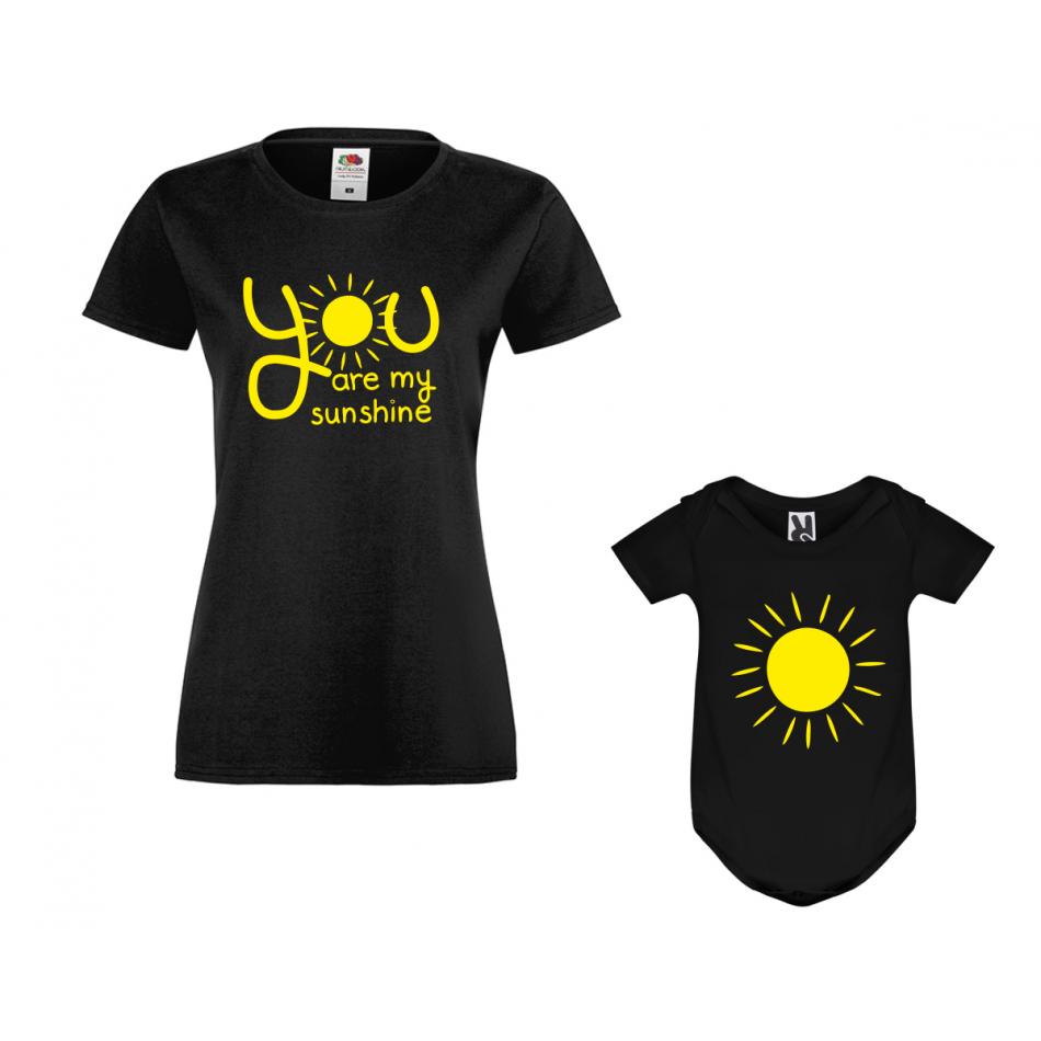 Set v čiernej farbe Mama a dieťa You are my sunshine