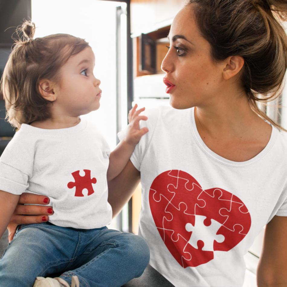 Tričká pre rodiča a dieťa Puzzle Hearts