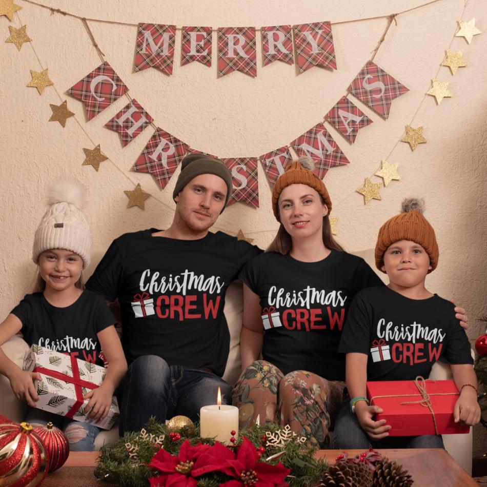 Vianočná rodinná sada čiernych tričiek Christmas Present