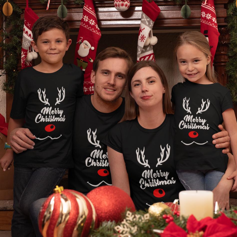 Vianočná rodinná sada tričiek Merry Deer