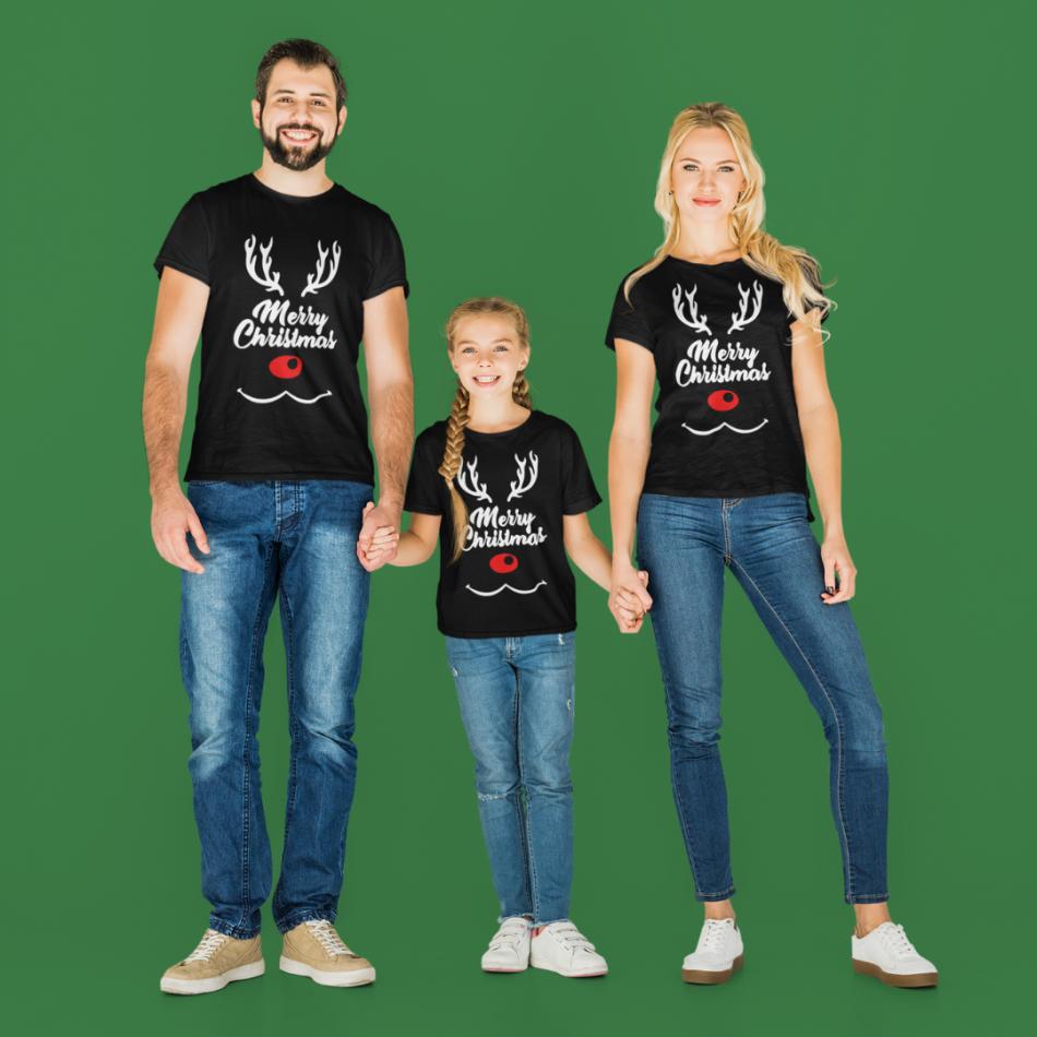 Vianočná rodinná sada v čiernej farbe Merry Christmas