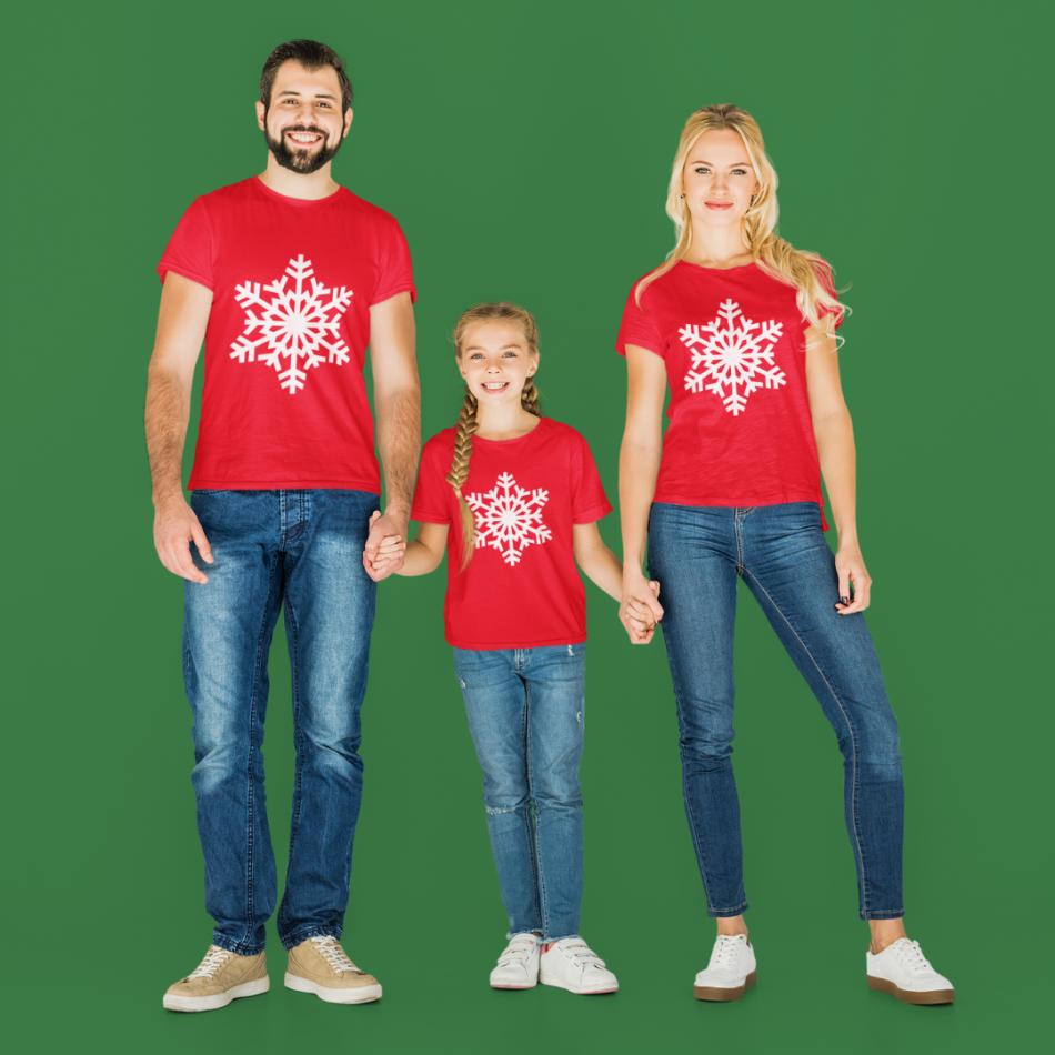 Vianočná rodina sada v červenej farbe SnowFlake