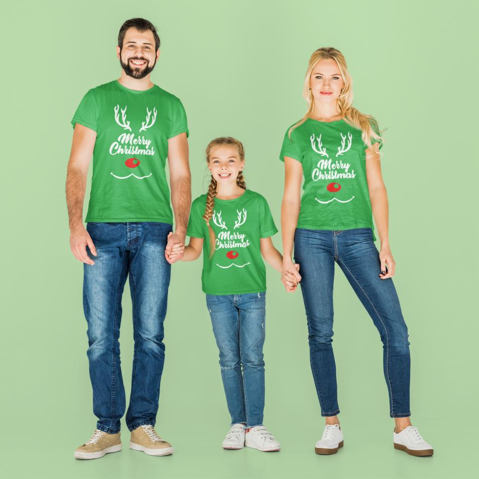Zelená vianočná rodinná sada Merry Christmas