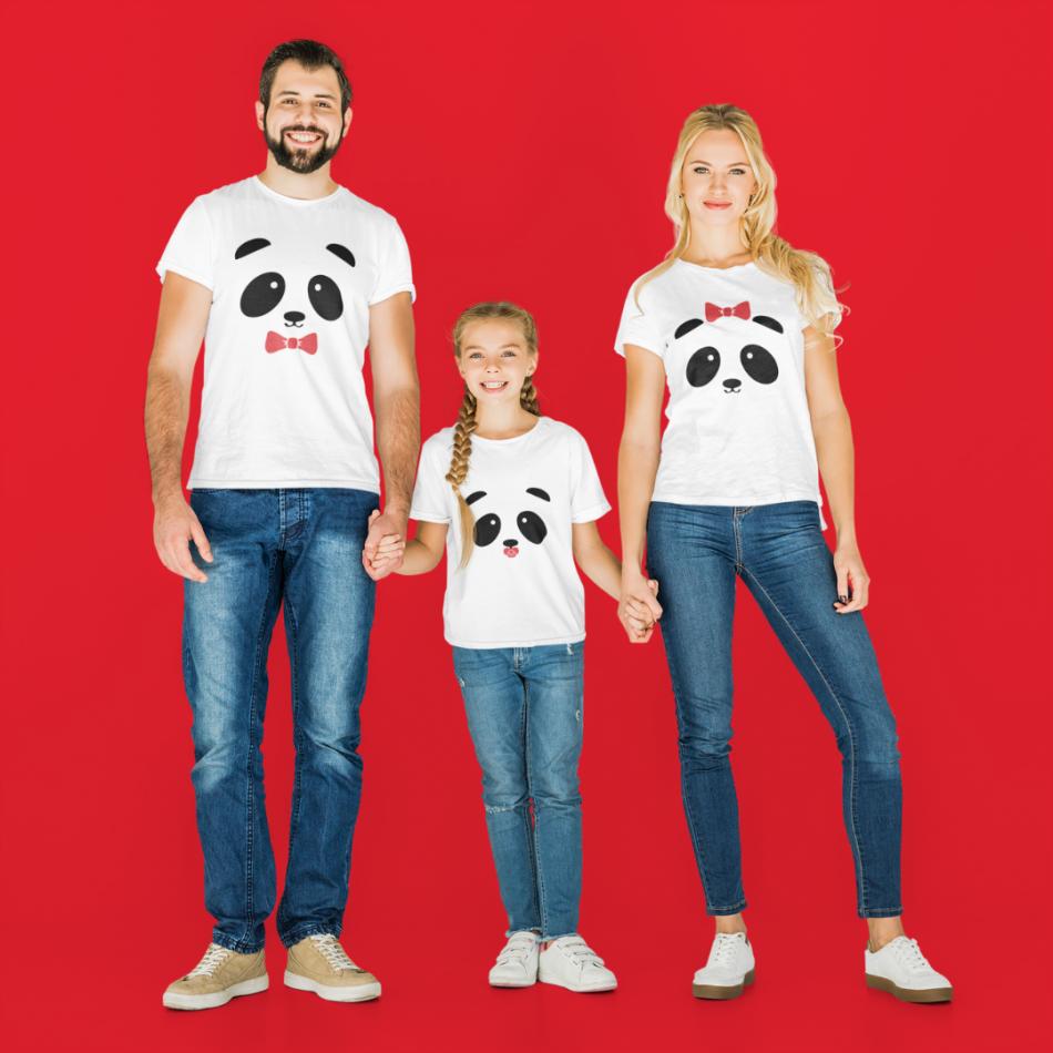 Rodinná sada tričiek v bielej farbe Panda