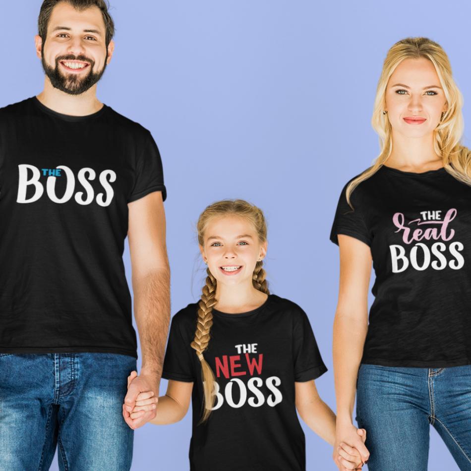 Rodinná sada v čiernej farbe The Boss, The Real Boss and The New Boss