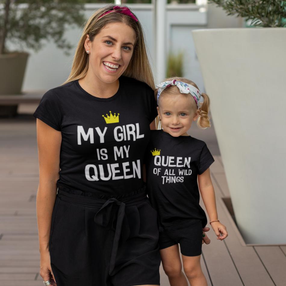 Tričká pre matku a dcéru My Girl Is My Queen
