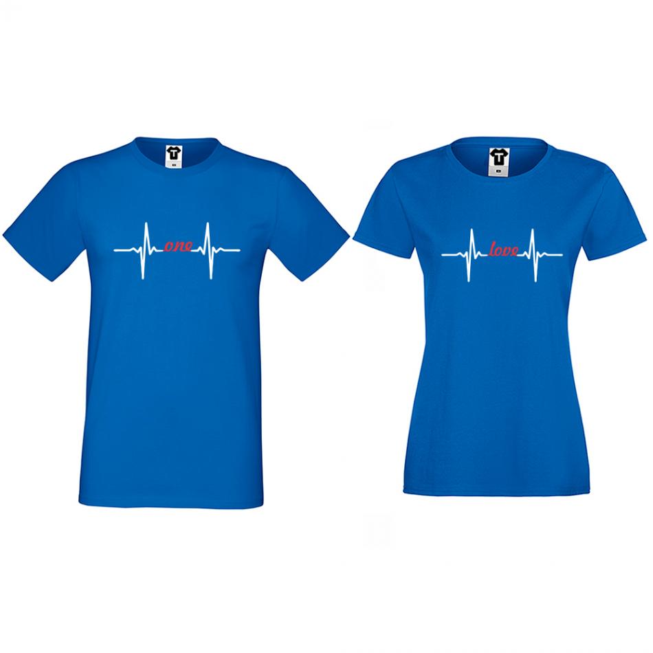 Tričká pre páry v modrej farbe One Love Heartbeat