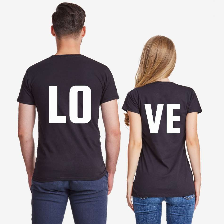 Tričká pre páry čierne  LOVE