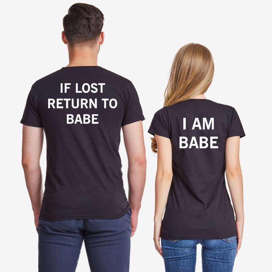 Tričká pre páry čierne  IF LOST
