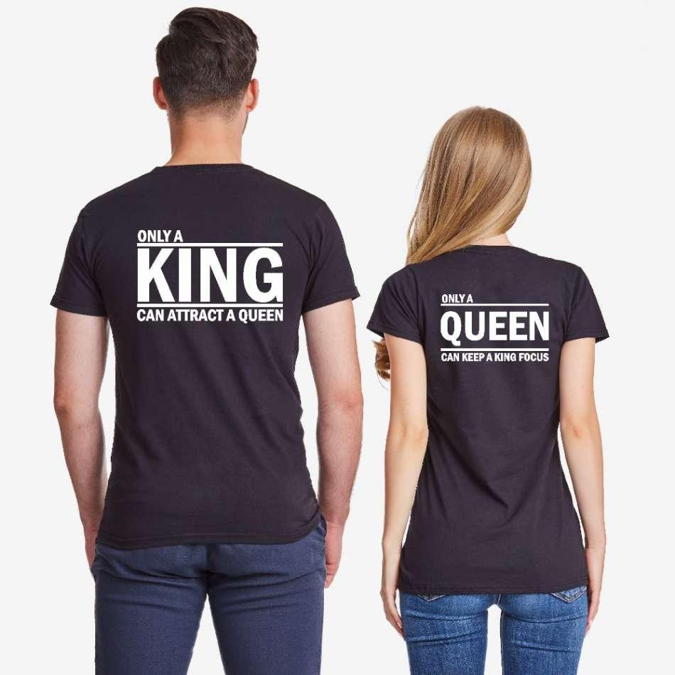 Tričká pre páry čierne ONLY KING