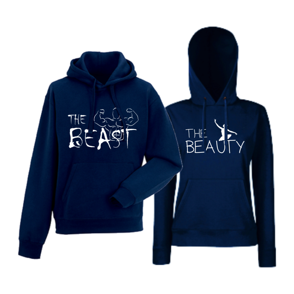 Komplet mikiny s kapucňou pre páry The Beast and The Beauty