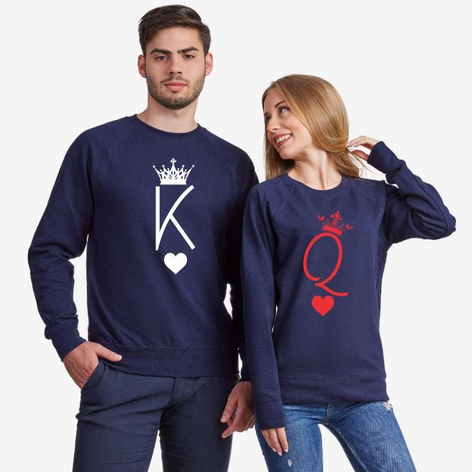 Tmavomodré mikiny pre páry King and Queen Symbols