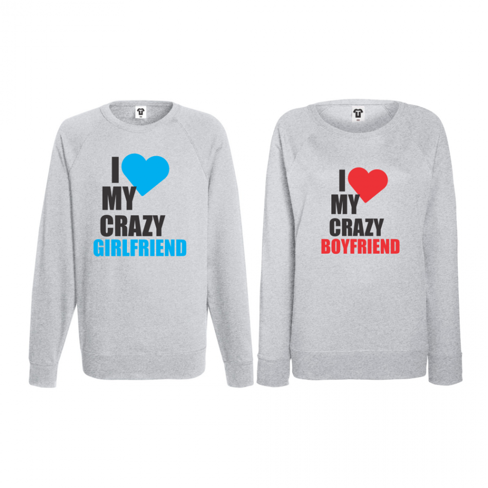 Komplet mikiny bez kapucne pre páry I Love my Crazy BoyFriend (BS-CP-006G)