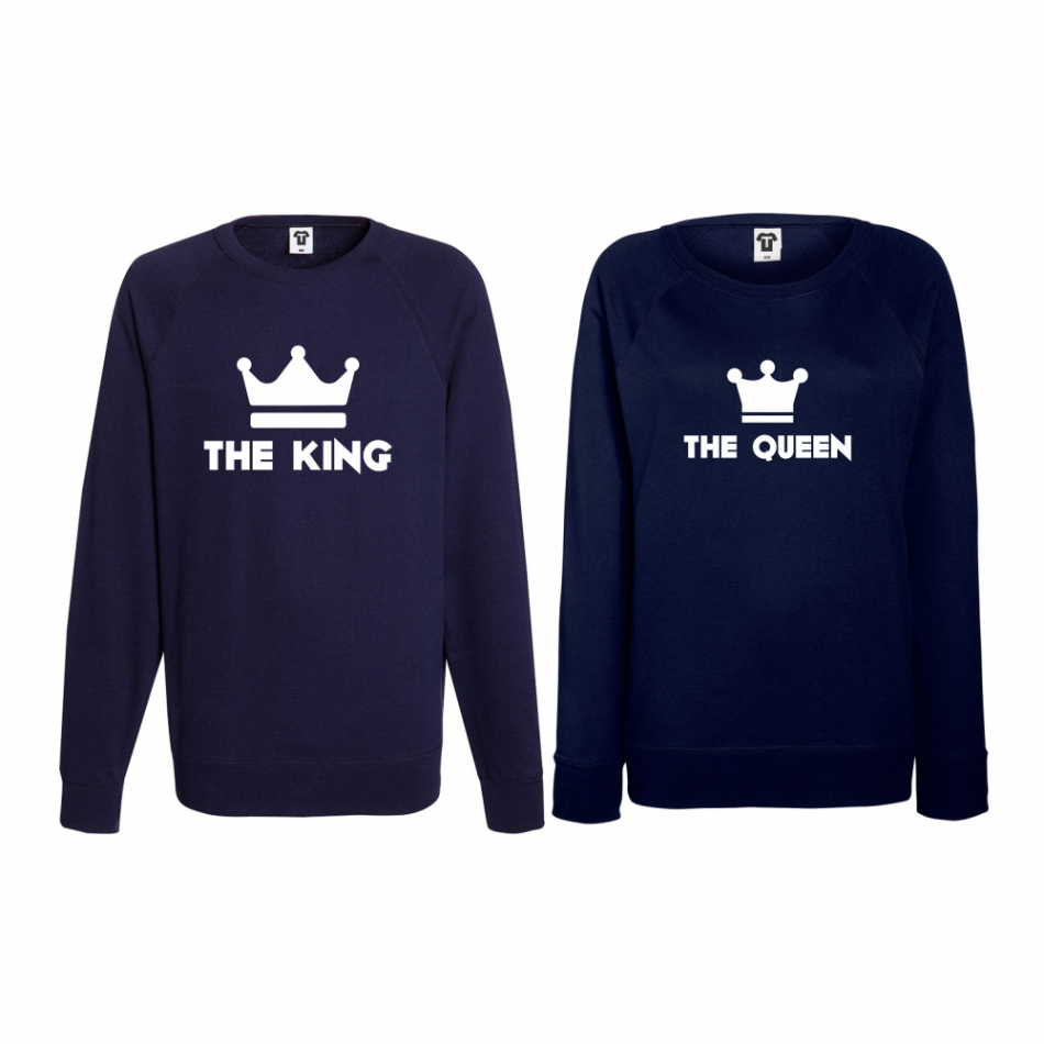 Komplet mikiny bez kapucne pre páry The King - The Queen (B-CP-063N)