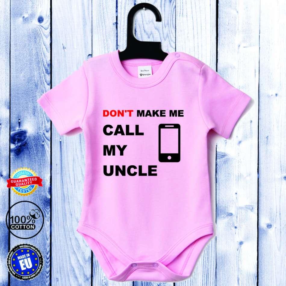 Detské body ružové s krátkym rukávom Call my Uncle (D-B-056-P1)