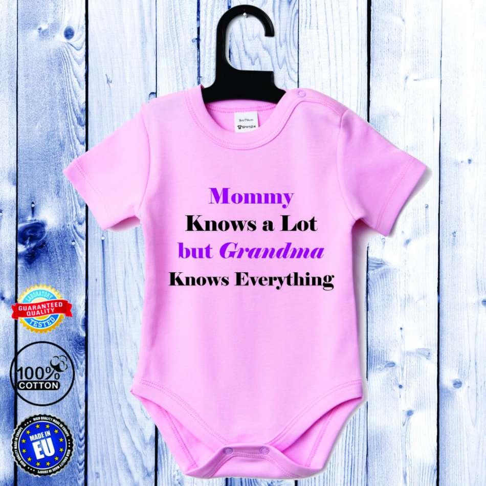 Detské body ružové s krátkym rukávom Grandma Knows Everything (D-B-062-P1)