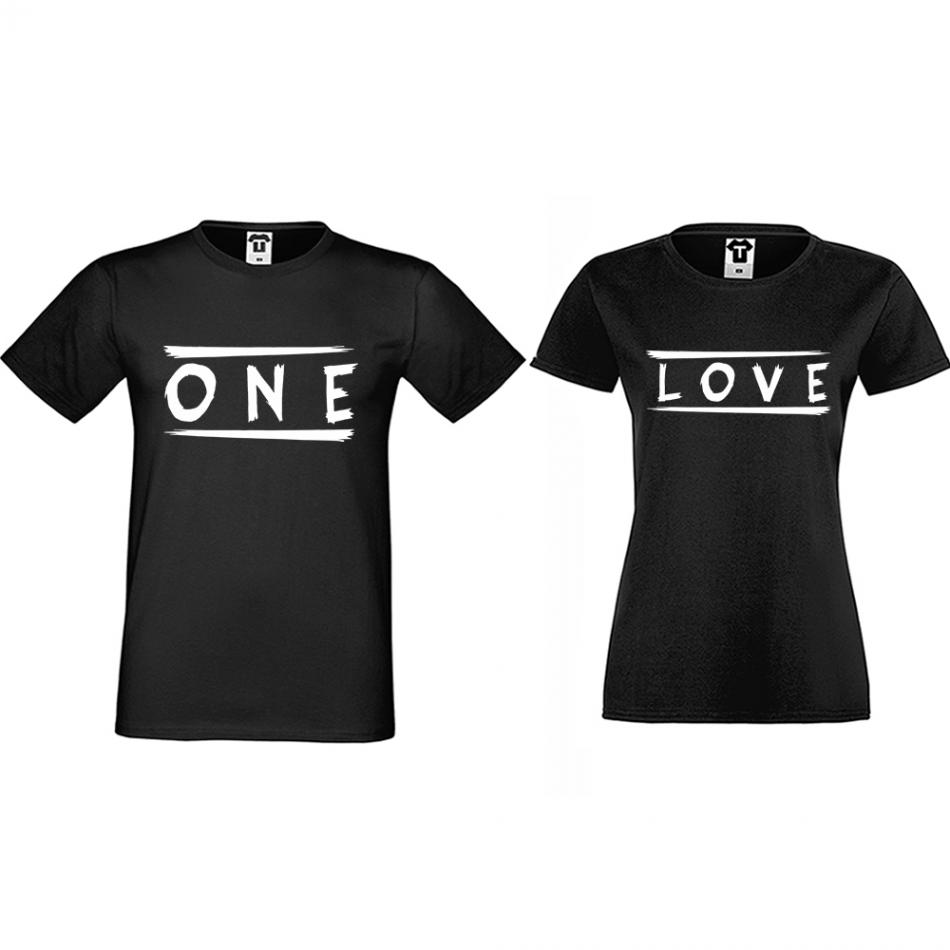 Tričká pre páry čierne One Love (D-CP-172B)