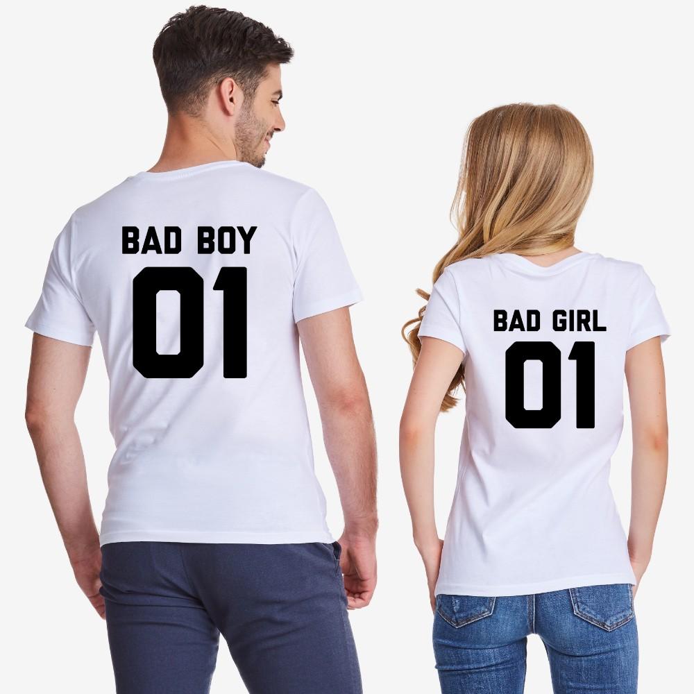 ad02b0b6528c Tričká pre páry v bielej farbe Bad Boy and Bad Girl - D-CP-308