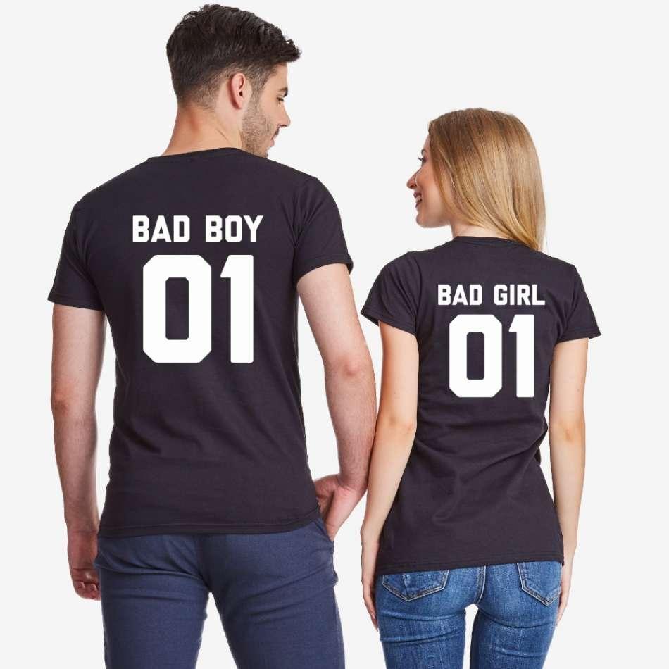 Tričká pre páry v černej farbe Bad Boy and Bad girl
