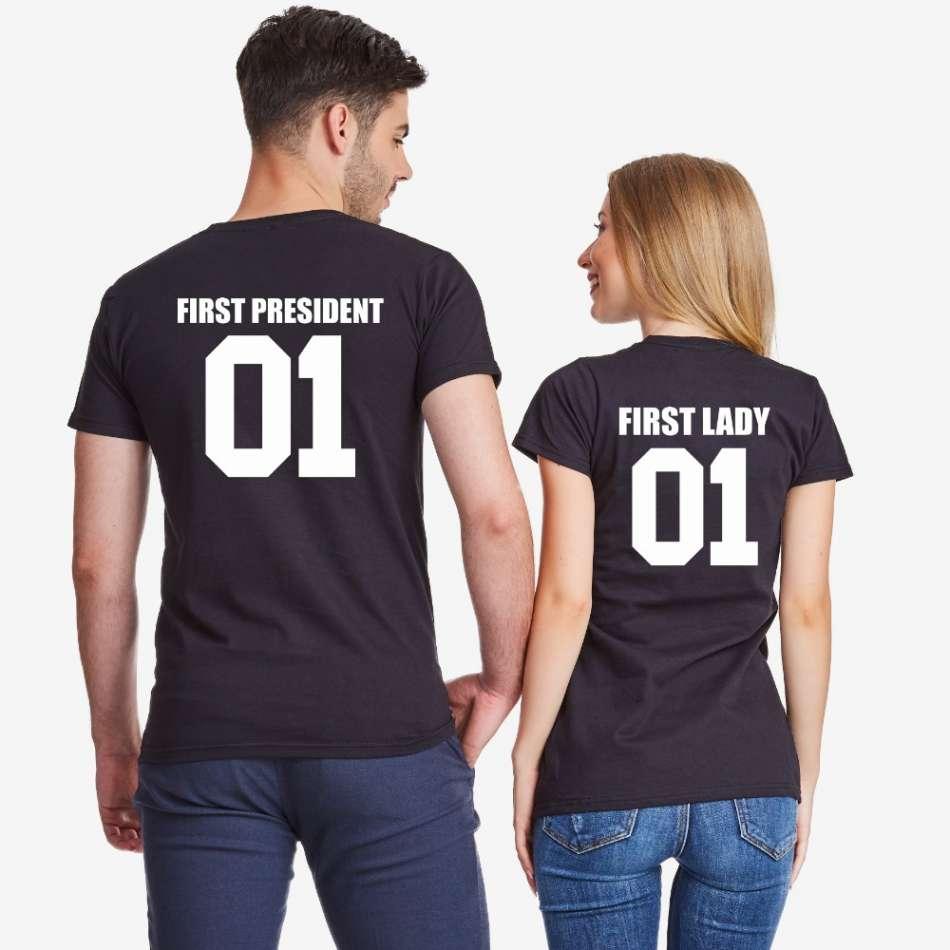 Tričká pre páry v ciernej farbe First President and First Lady