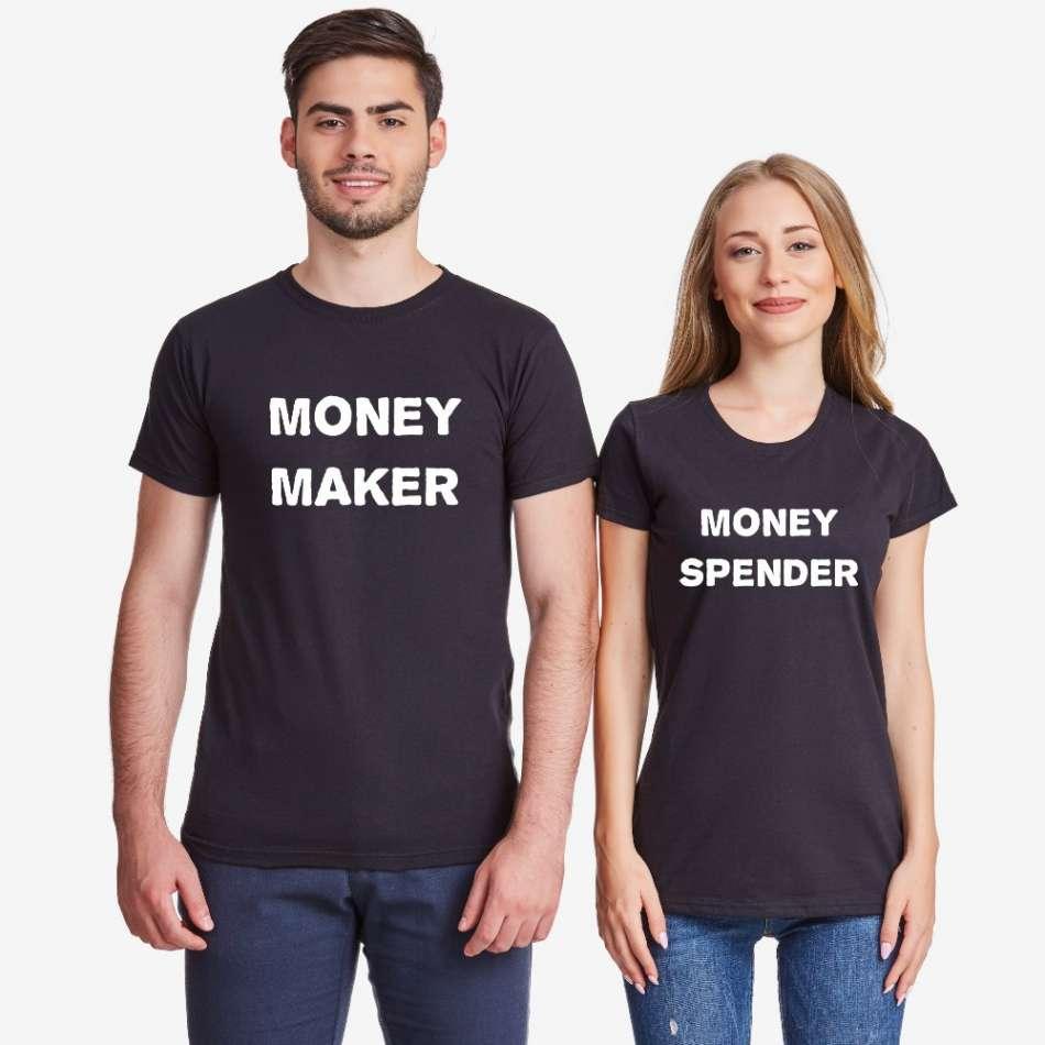 Tričká pre páry v čiernej farbe Money Maker and Money Spender