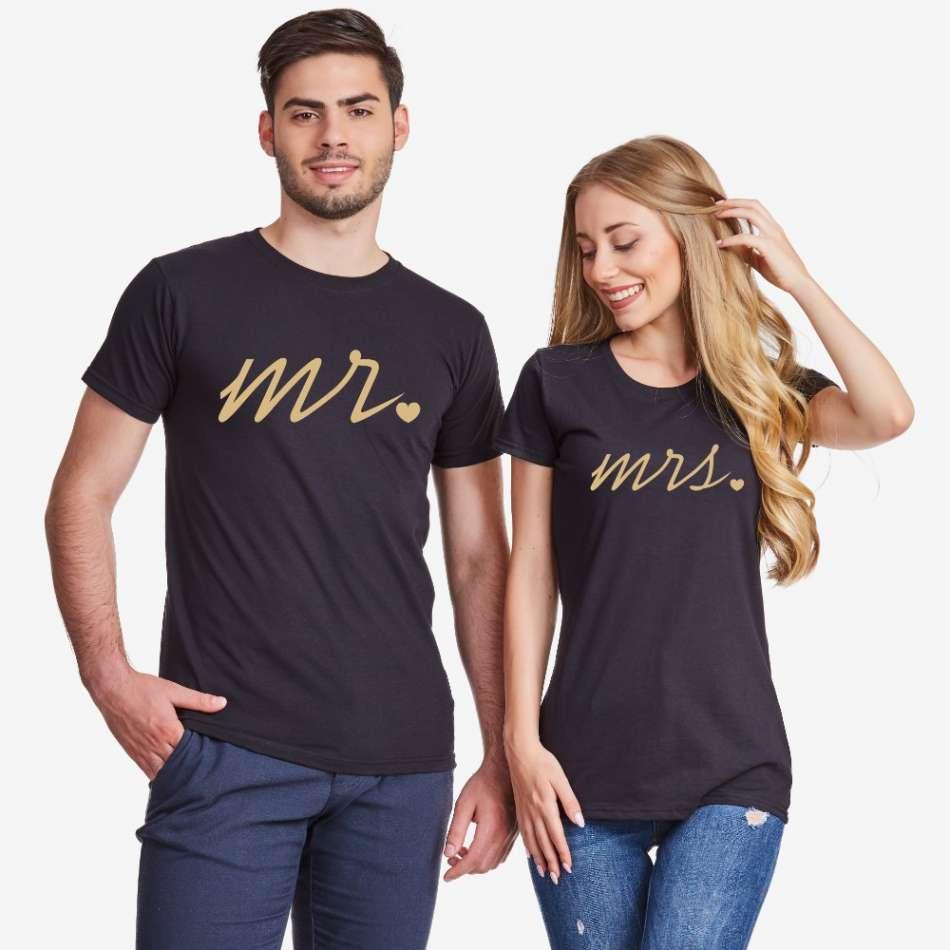 Tričká pre páry v čiernej farbe Mr and Mrs Gold