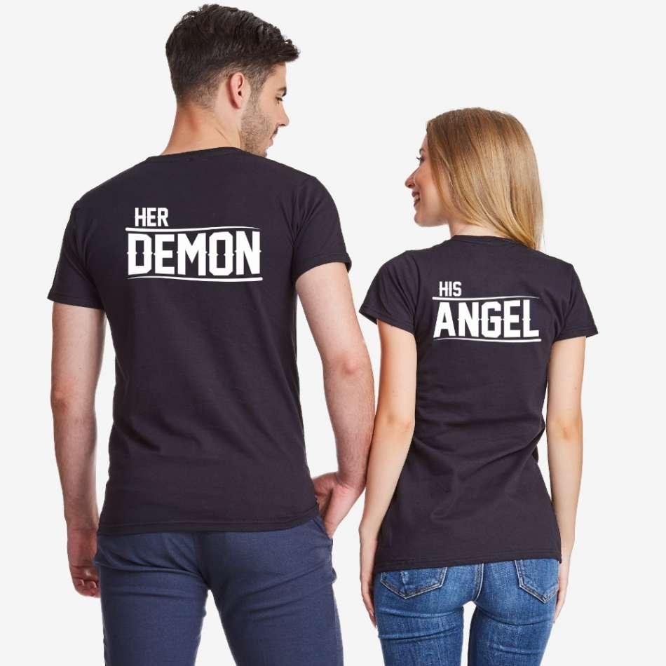 Tričká pre páry v čiernej farbe Her Demon and His Angel