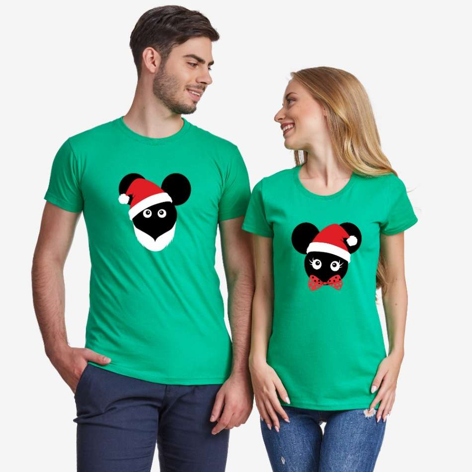 Zelené tričká pre páry Christmas Mouse