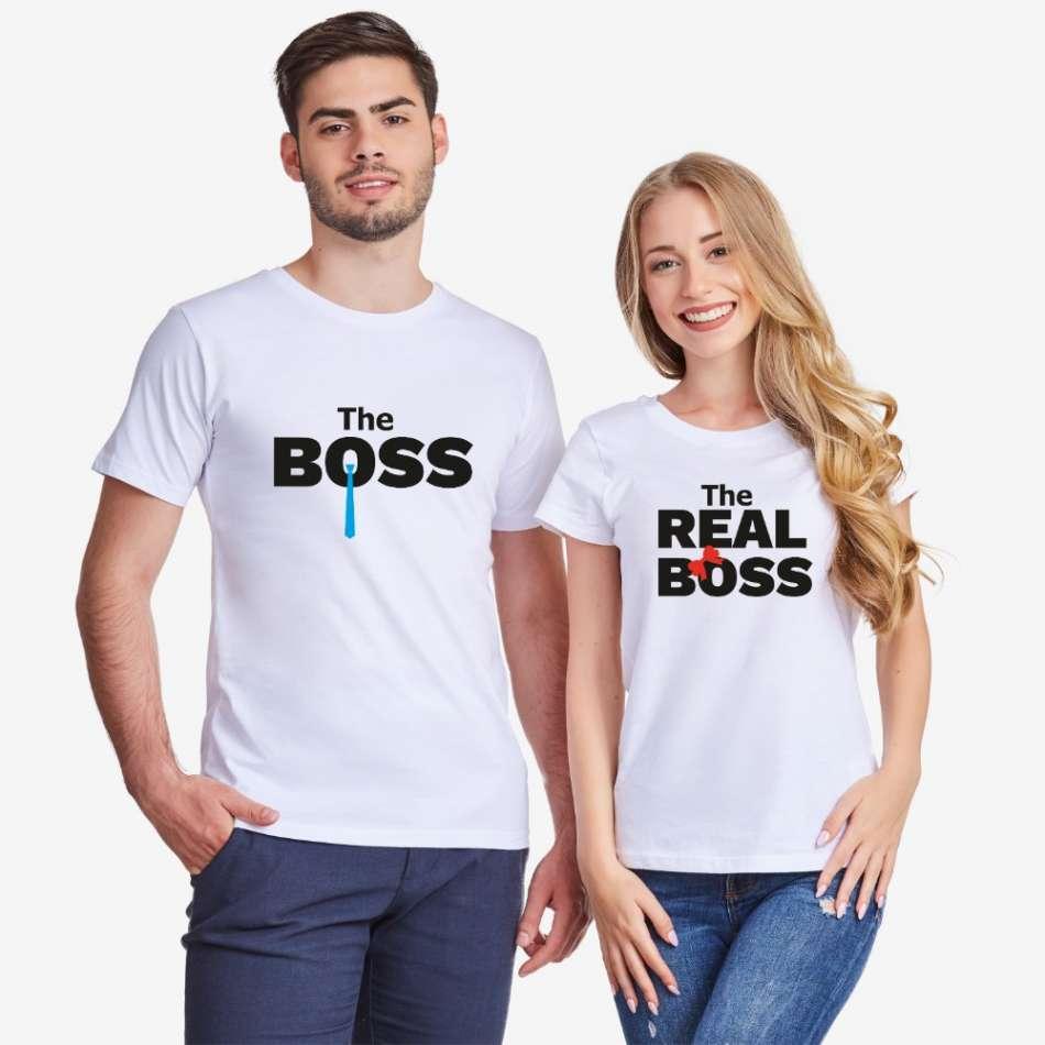 Tričká pre páry v bielej farbe The Real Boss Tie