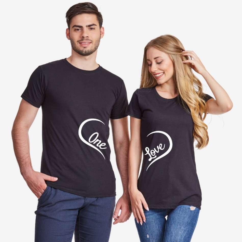 Tričká pre páry v čiernej farbe One Love