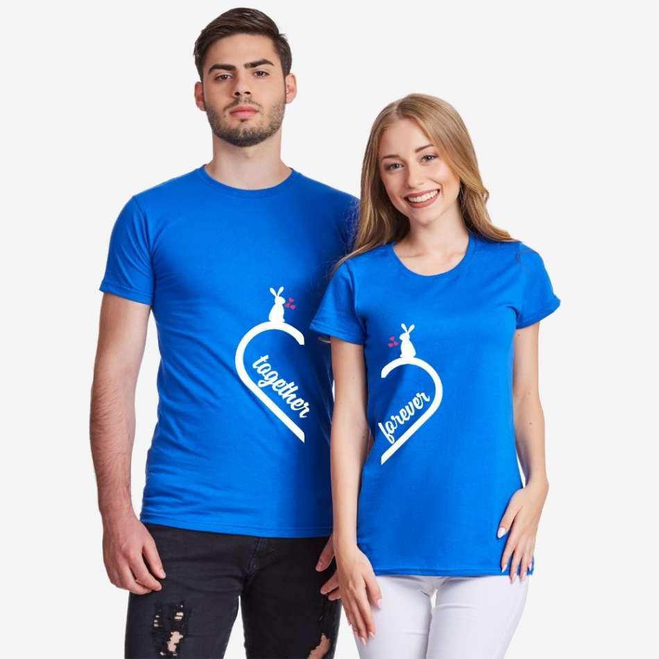 Tričká pre páry v modrej farbe Together Forever Bunny