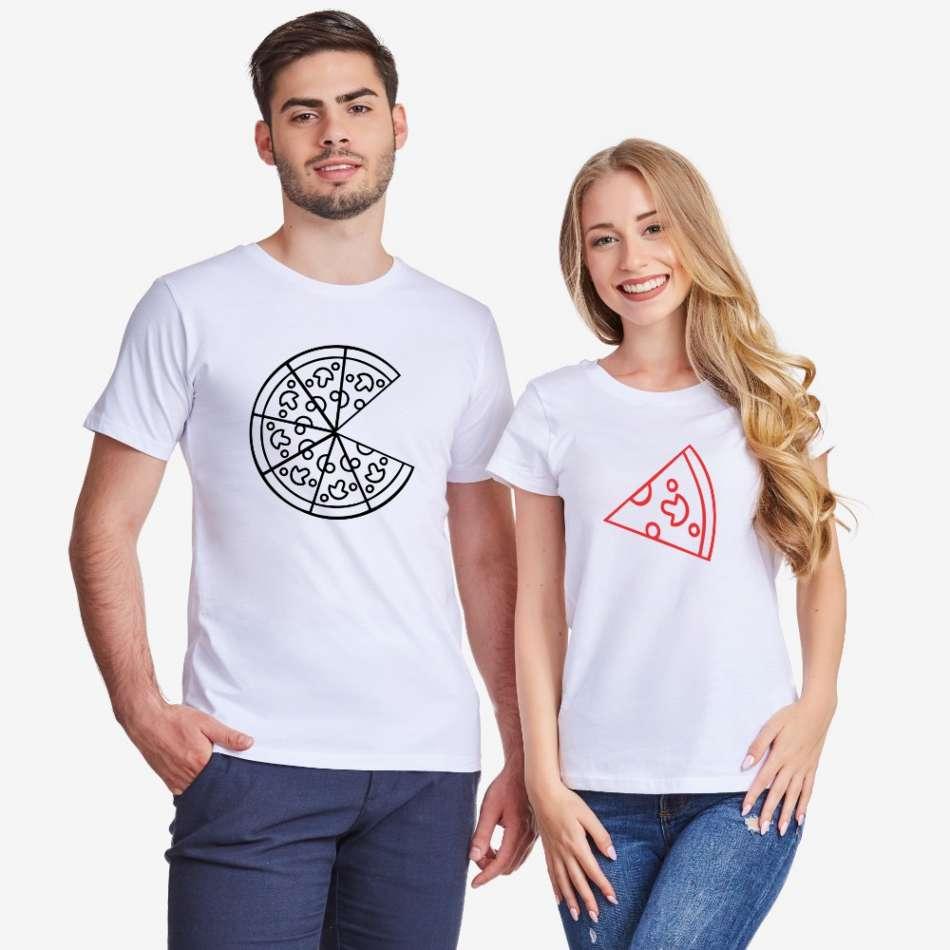 Trička pro páry v bílé nebo černé barvě Pizza Couple
