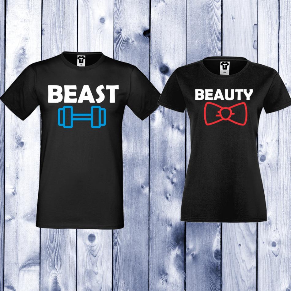 Tričká pre páry čierne Beast and Beauty (D-CP-065B)