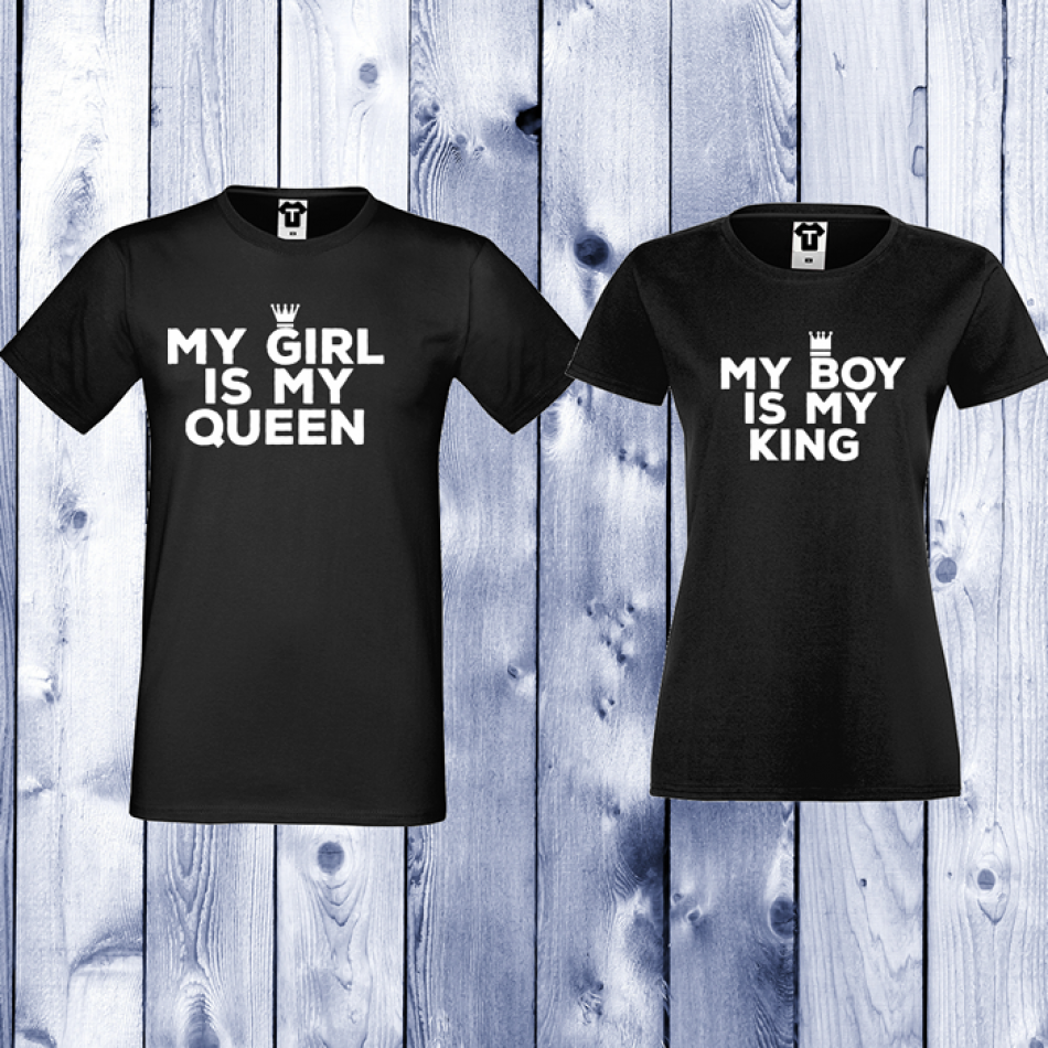 Tričká pre páry čierne My Girl Is My Queen (D-CP-106B)